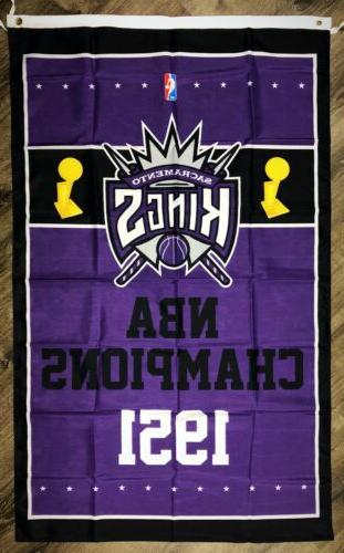 sacramento kings nba championship flag 3x5 ft
