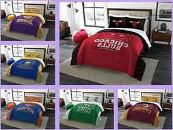 NBA Licensed 3 Piece Full Queen Comforter & Sham Bed Set In