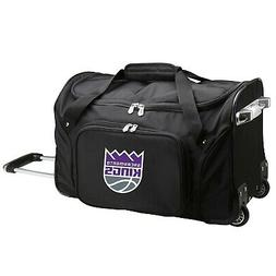 NBA Sacramento Kings Wheeled Duffle Bag, 22 x 12 x 5.5, Blac