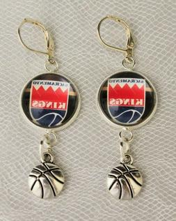 Sacramento Kings Earrings w/Basketball Charm Upcycled from B