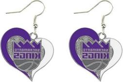 Sacramento Kings NBA Silver Swirl Heart Dangle Earrings Amin