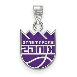 Sterling Silver NBA LogoArt Sacramento Kings Small Enamel Pe